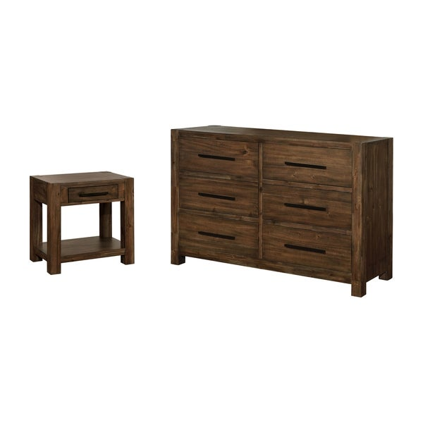 Furniture of America Pore Brown 2-piece Nightstand and Dresser Set