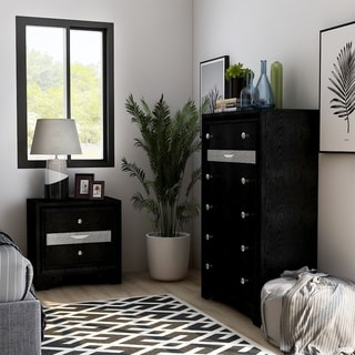 Silver Orchid Balistrieri Black 2-piece Nightstand and Chest Set