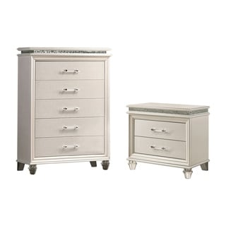 Furniture of America Xian White 2-piece Nightstand and Chest Set