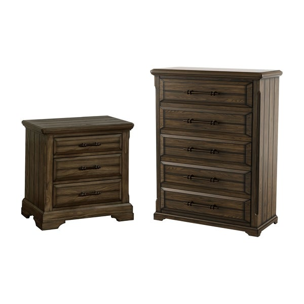 Furniture of America Kete Walnut 2-piece Nightstand and Chest Set