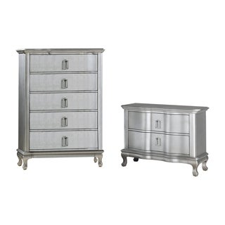Furniture of America Maza Silver 2-piece Nightstand and Chest Set