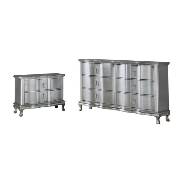 Furniture of America Maza Silver 2-piece Nightstand and Dresser Set