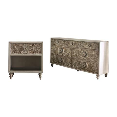Furniture of America Daff Beige 2-piece Nightstand and Dresser Set