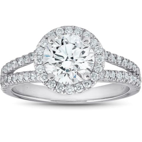 14k White Gold 2 Ct Diamond Engagement Ring Clarity Enhanced (G-H/SI1-SI2)