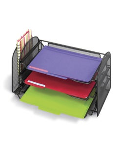 Safco Steel Sliding-tray and Upright-section Mesh Desk Organizer