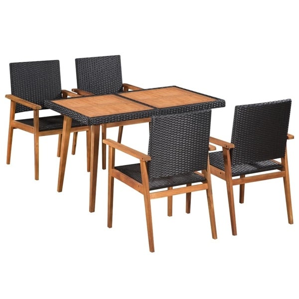 5 Piece Outdoor Dining Set Poly Rattan Black and Brown