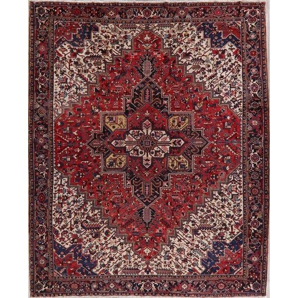 Shop Black Friday Deals On Medallion Geometric Heriz Persian Area Rug Handmade Oriental Carpet 10 8 X 13 1 On Sale Overstock 30375806