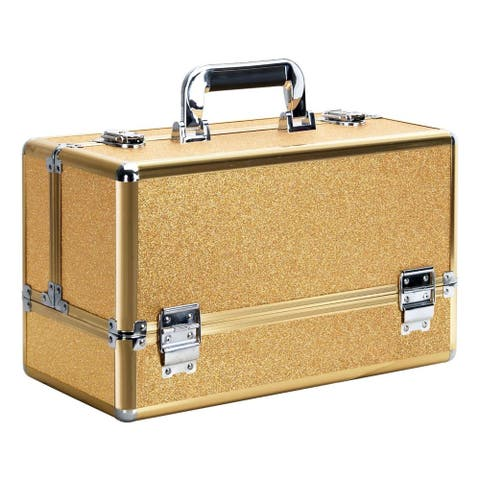Ver Beauty Vk3203 Gold Glitter Finish Professional Cosmetic Makeup Train Case with 6-Tier Accordion Tray