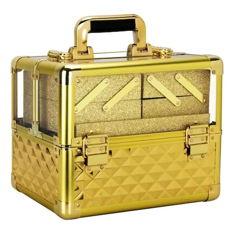 Ver Beauty VP017 Gold Diamond Pattern Acrylic Armored Professional Cosmetic Makeup Nail Artistry Train Case