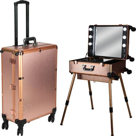 Ver Beauty Professional Rolling Studio Makeup Case with Dimmable Led Lights, Legs and Mirror - Rose Gold Matte