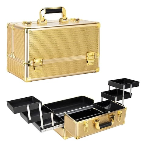Ver Beauty Vk3201 Gold Krystal Pattern Cosmetic Makeup Train Case w/ 2 Brush Holder & 6-Tier Easy Slide Accordion Trays