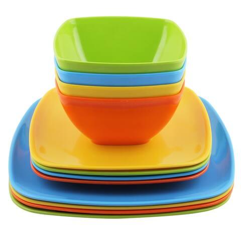 Melange 12 Pcs Melamine Square Dinnerware Set Squares Solid Shatter Proof Dinner Plate Salad Plate & Soup Bowl 4 Each