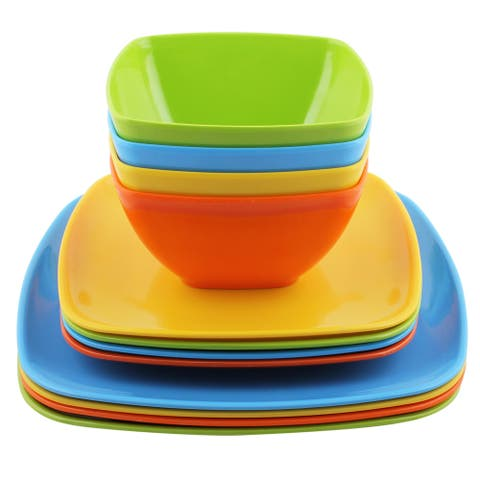 Melange 36 Pcs Melamine Square Dinnerware Set Squares Solid Shatter Proof Dinner Plate Salad Plate & Soup Bowl 12 Each Multi