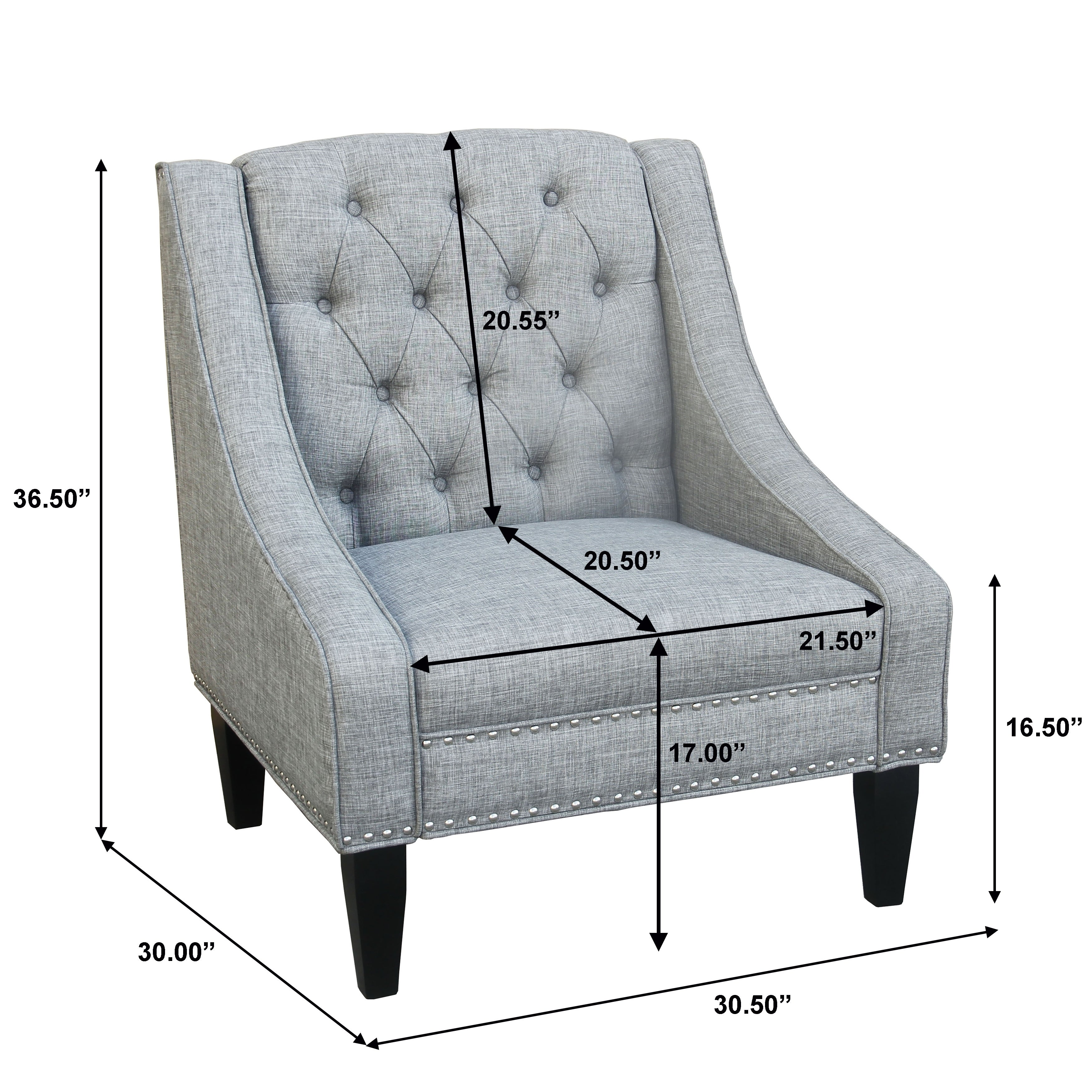 Shop Black Friday Deals On Grey Tufted Swoop Arm Accent Chair On Sale Overstock 30376073