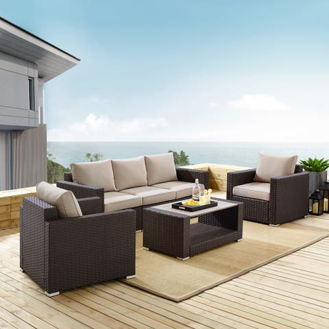 Woven Upholstered 4-piece Rustic Brown and Beige Outdoor Entertaining Set