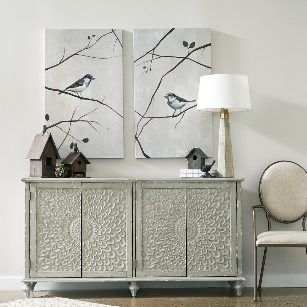 Weathered Grey 4-door Zinnia Carved Console Cabinet