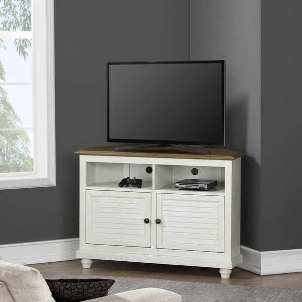 Two-tone Corner TV Stand. Opens flyout.