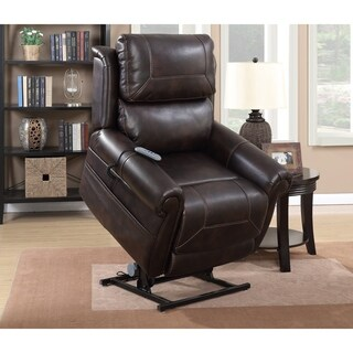 Brown Top Grain Leather Power Lift and Recliner Chair