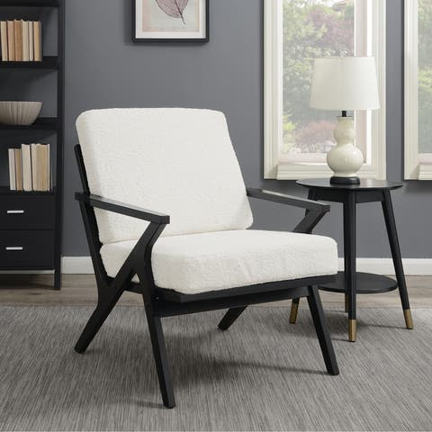 Texture and Natural Wood Frame Accent Chair