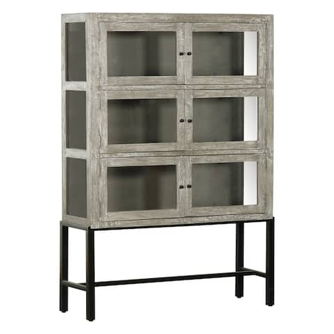 Rustic Farmhouse Cerused Oak Brown 6-door Display Cabinet
