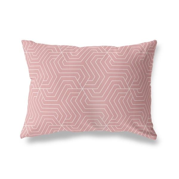 BRICKLE PINK WHITE Lumbar Pillow By Kavka Designs