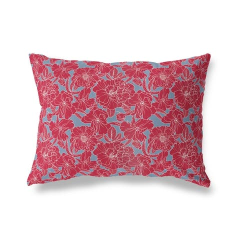 FLOWER POWER RED and BLUE Lumbar Pillow by Kavka Designs