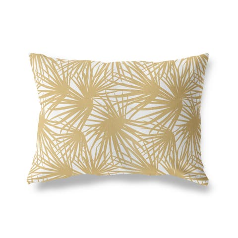PALM BALM GOLD and WHITE Lumbar Pillow by Kavka Designs