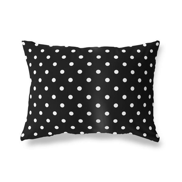 POLKA DOTS BLACK Lumbar Pillow By Kavka Designs