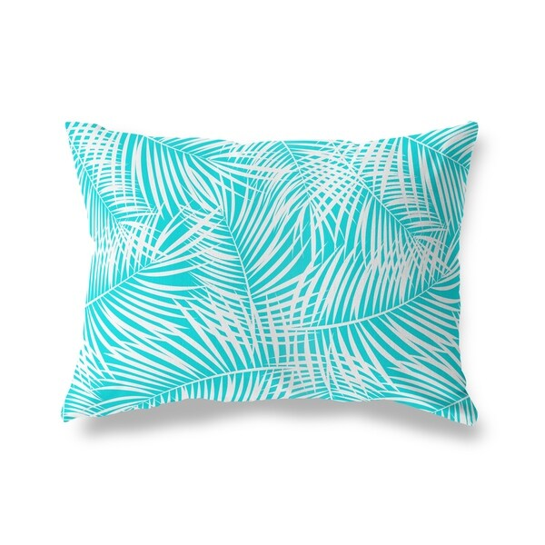 PALM PLAY TEAL WHITE Lumbar Pillow By Kavka Designs