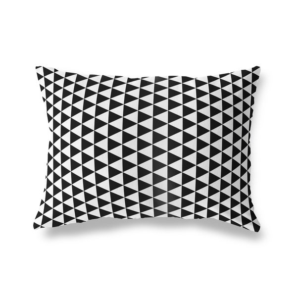 TRIANGLE MAZE BLACK Lumbar Pillow By Kavka Designs