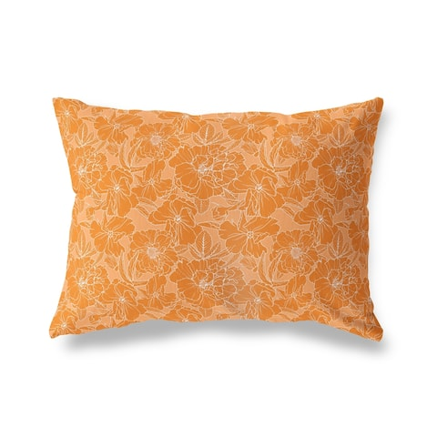 FLOWER POWER ORANGE Lumbar Pillow by Kavka Designs