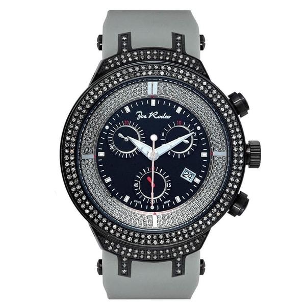 Joe Rodeo Men's Diamond Watch Genuine Diamonds 46 mm size Black Case, Model MASTER. Opens flyout.