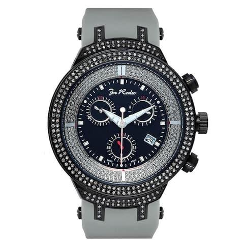 Joe Rodeo Men's Diamond Watch Genuine Diamonds 46 mm size Black Case, Model MASTER