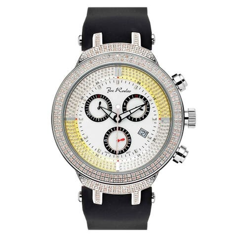 Joe Rodeo Men's Diamond Watch Genuine Diamonds 46 mm size White Case, model MASTER