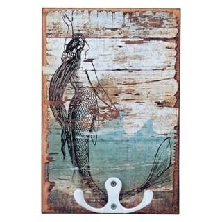 """Mermaid Hook Board Wood Sign 4"""" x 6"""""""