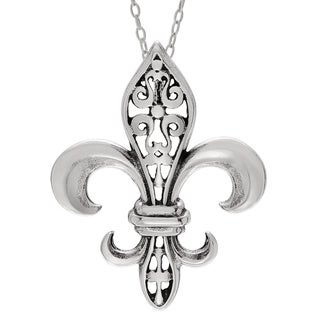 Journee Collection Sterling Silver Large Fleur de Lis Necklace