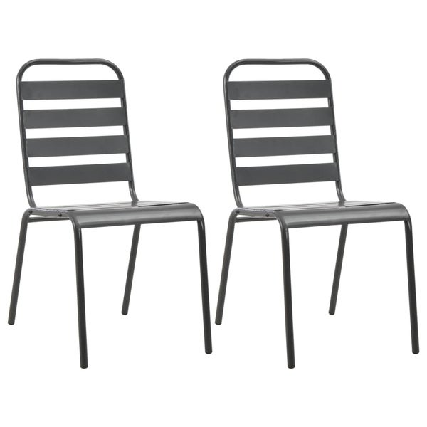 Stackable Outdoor Chairs 2 pcs Steel Gray