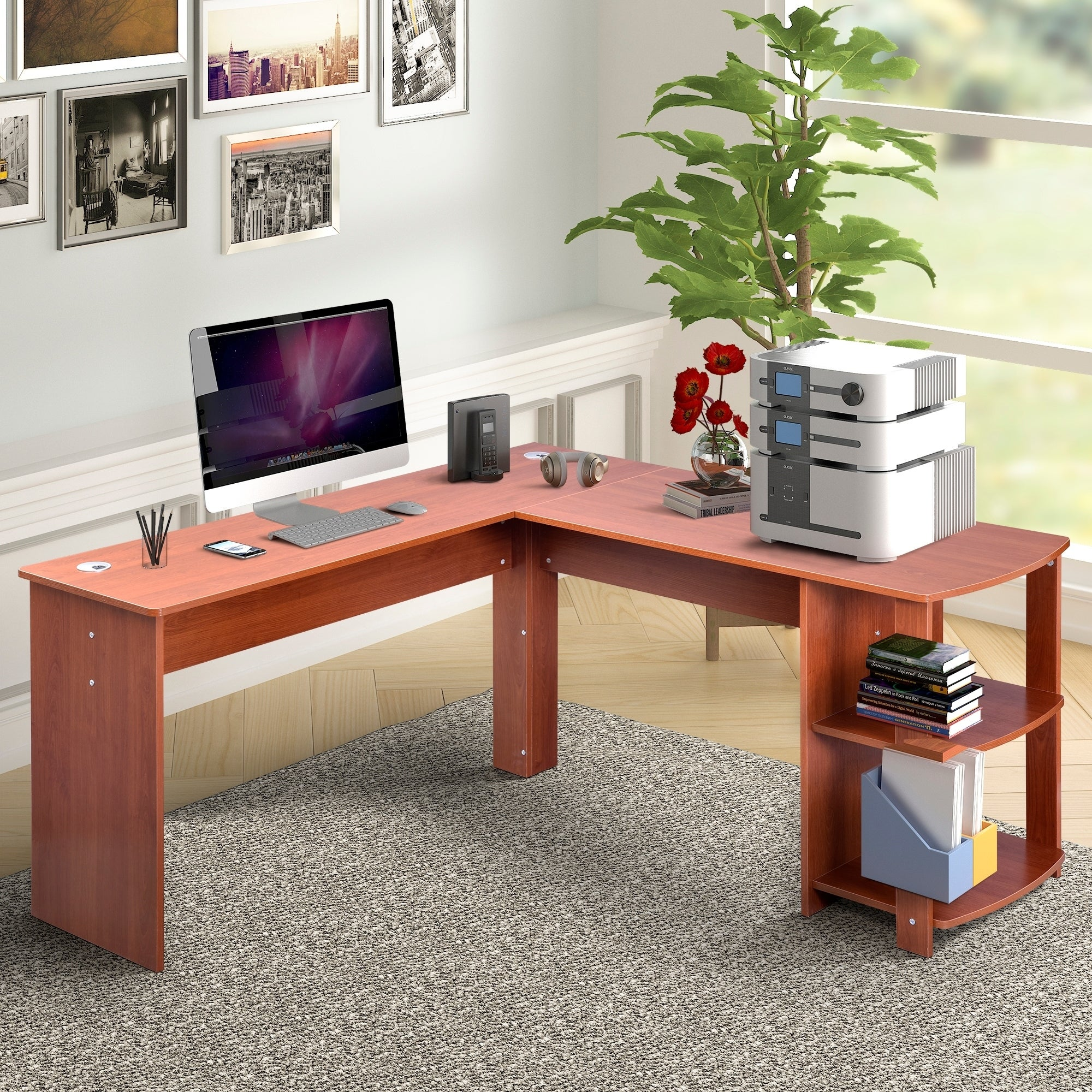 Modern PC Computer Office Desk Wooden Corner Desktop Table Study Workstation