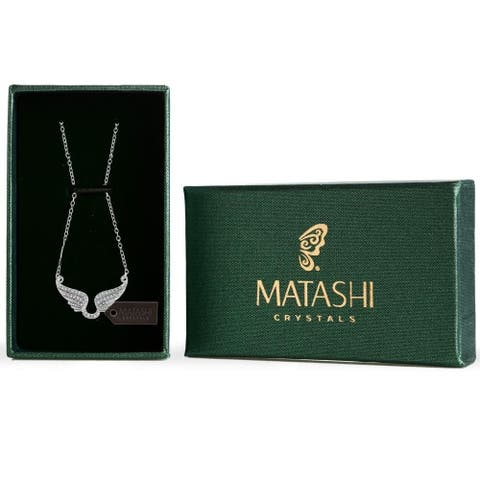 Matashi Rhodium Plated Necklace with Outspread Angel Wings Design with a 16 Inch Extendable Chain and Clear Crystals - Silver