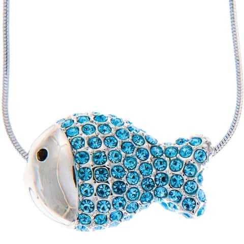 Matashi Rhodium Plated Necklace with Fish Design with a 16 Inch Extendable Chain and High Quality Ocean Blue Crystals - Silver