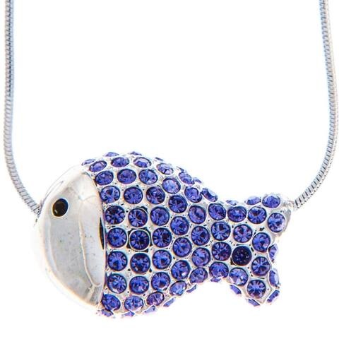 Matashi Rhodium Plated Necklace with Fish Design with a 16 Inch Extendable Chain and High Quality Purple Crystals - Silver
