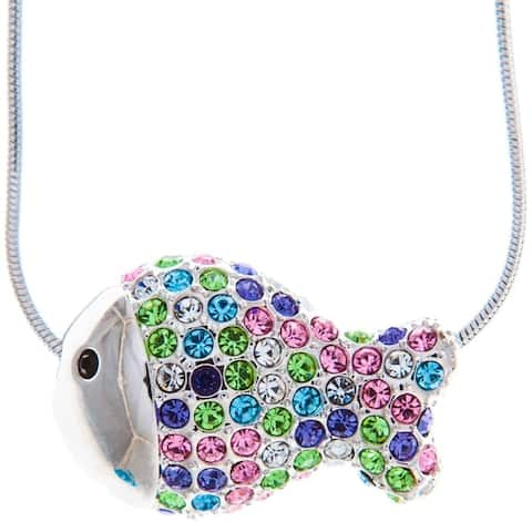 Matashi Rhodium Plated Necklace with Fish Design with a 16 Inch Extendable Chain and High Quality Multicolored Crystals - Silver