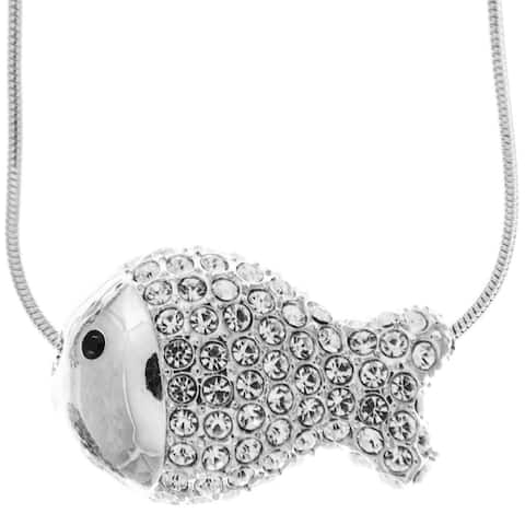 Matashi Rhodium Plated Necklace with Fish Design with a 16 Inch Extendable Chain and High Quality Clear Crystals - Silver