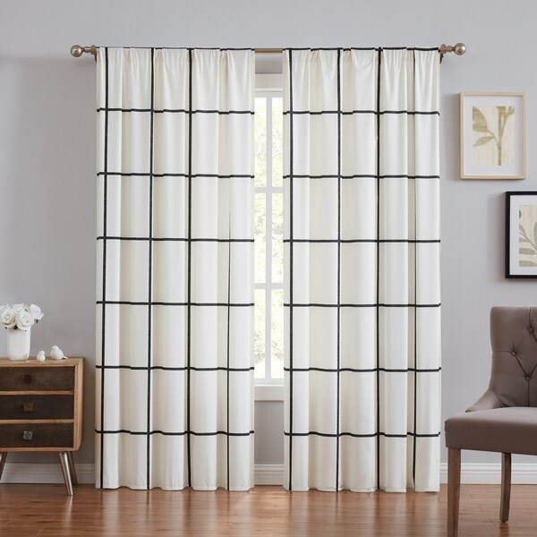 Carson Carrington Tomteboda Modern Windowpane Window Curtain in Ivory (As Is Item). Opens flyout.