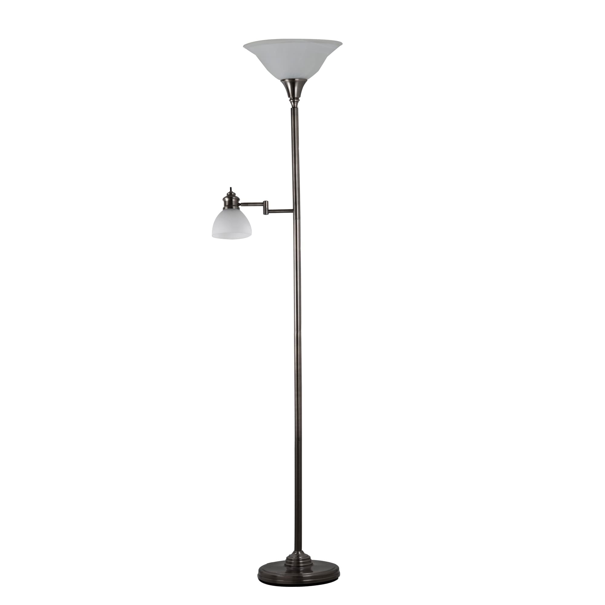 Image of: Shop Black Friday Deals On Adesso Aaron Swing Arm Torchiere Floor Lamp With Reading Light On Sale Overstock 30378097