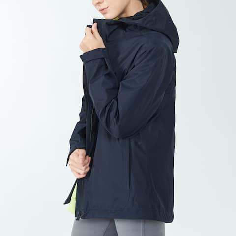 Women's Windproof Hooded Rain Jacket for Outdoor Hike Navy