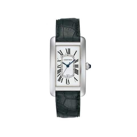Cartier Men's W2603256 'Tank' Black Leather Watch