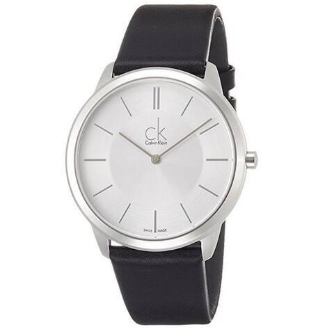 Calvin Klein Men's K3M211C6 'Minimal' Black Leather Watch