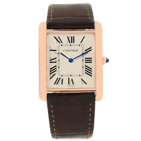 Cartier Men's W1560017 'Tank' Brown Leather Watch