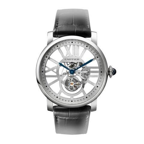 Cartier Men's W1580031 'Rotonde De Cartier' Black Leather Watch